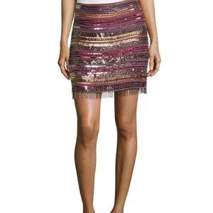 Nicole Miller Silk Baba Beaded Fringe Skirt